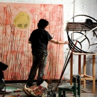 Sharon Poliakine at her studio, photo by Avraham Hay