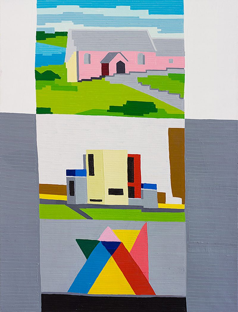 Pink House Haus and Valvoline, 2014, oil on linen, 130x100 cm